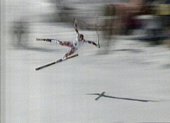 Austrian olympic downhill skier Hermann Maier flies through the air before crashing into safety netting, in this image taken from TV, as he crashes out of the Olympic downhill competition at Hakuba, Japan on February 13, 1998. (KEYSTONE/AP Photo/ORTO Handout/Str)