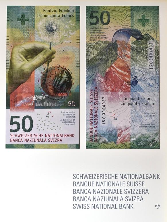 Die neue Schweizer 50-Franken-Note der Schweizerischen Nationalbank wird im Salon du Palais in Bern praesentiert, am Mittwoch, 6. April 2016. Die neue Schweizer Banknote kommt am Dienstag, 12. April 2016, in Umlauf. Die 50er-Note ist die erste Note der neuen Banknotenserie, die in Umlauf gebracht und praesentiert wird. (KEYSTONE/Lukas Lehmann)