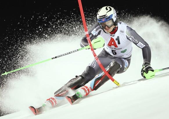 Norway's Henrik Kristoffersen competes in an alpine ski, men's World Cup slalom in Schladming, Austria, Tuesday, Jan. 29, 2019. (AP Photo/Shinichiro Tanaka)