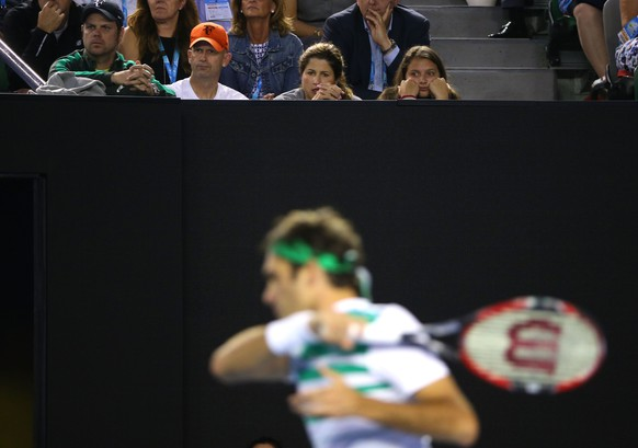 MELBOURNE, AUSTRALIA - JANUARY 28:  Mirka Federer wife of Roger Federer of Switzerland watches his semi final match against Novak Djokovic of Serbia during day 11 of the 2016 Australian Open at Melbourne Park on January 28, 2016 in Melbourne, Australia.  (Photo by Michael Dodge/Getty Images)