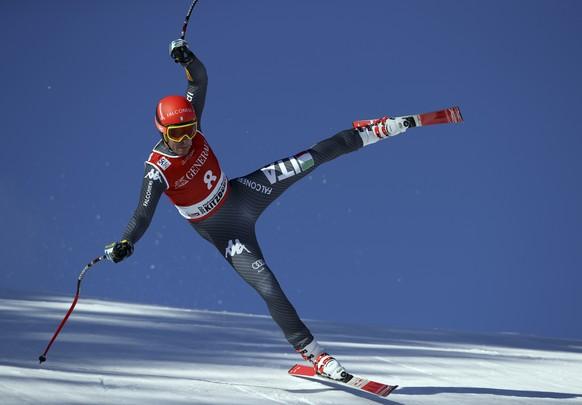 Italy's Christof Innerhofer competes during an alpine ski, men's World Cup Super G, in Kitzbuehel, Austria, Friday, Jan. 20, 2017. (AP Photo/Shinichiro Tanaka)