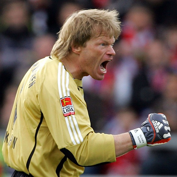 ** FILE ** In this feb 17, 2007 filer Munich's goalkeeper Oliver Kahn reacts during the German first division soccer match between Alemannia Aachen and Bayern Munich at the Aachen Tivoli stadium, western Germany.  On Saturday May 17, 2008 after the last match of the season between Munich and Hertha BSC , former national goelie Kahn ends his legendary soccer career.  (AP Photo/Frank Augstein)