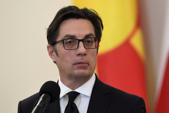 epa08192083 North Macedonia's President Stevo Pendarovski speaks at a press conference after a meeting with Polish President Andrzej Duda in the Presidential Palace in Warsaw, Poland, 04 February 2020. Pendarovski is on an official visit to Poland.  EPA/RADEK PIETRUSZKA POLAND OUT