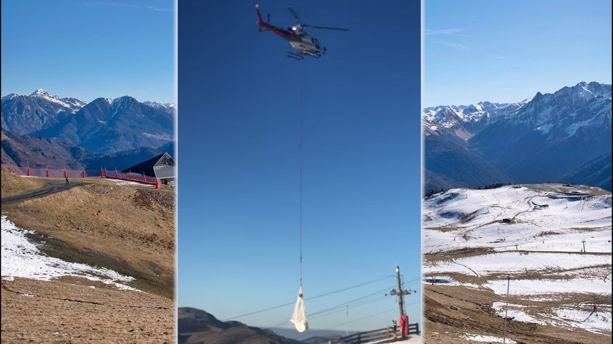 Verzweifelte Skigebiete: Helis fliegen tonnenweise Schnee ein – auch in der Schweiz