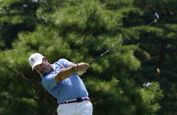 Rory Sabbatini of Slovakia watches his tee shot on the 13th hole during the final round of the men's golf event at the 2020 Summer Olympics on Sunday, Aug. 1, 2021, in Kawagoe, Japan. (AP Photo/Matt York)