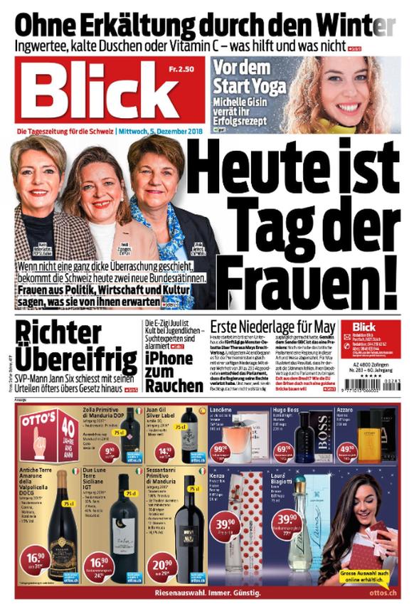 Die Bundesratswahlen dominieren heute die Frontseiten der Schweizer Zeitungen. Für den <strong>«Blick»</strong> ist heute der «Tag der Frauen».
