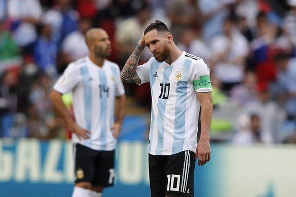 Argentina's Lionel Messi stands after France's Antoine Griezmann scored his side's opening goal during the round of 16 match between France and Argentina, at the 2018 soccer World Cup at the Kazan Arena in Kazan, Russia, Saturday, June 30, 2018. (AP Photo/Frank Augstein)