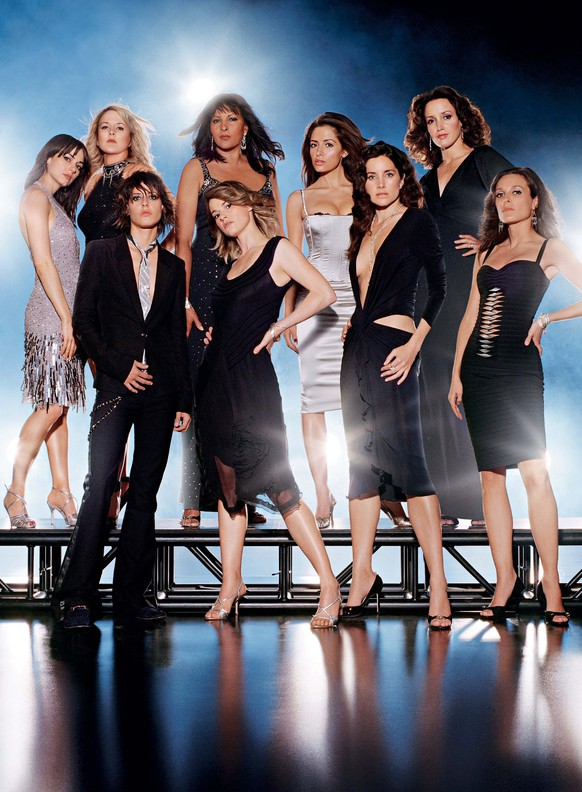 (L-R) Mia Kirshner as Jenny, Laurel Holloman as Tina, Katherine Moennig as Shane, Pam Grier as Kit, Leisha Hailey as Alice, Sarah Shahi as Carmen, Rachel Shelley as Helena, Jennifer Beals as Bette and Erin Daniels as Dana Photo: Max Vadukal/Showtime Photo ID: THEL3_003_MD