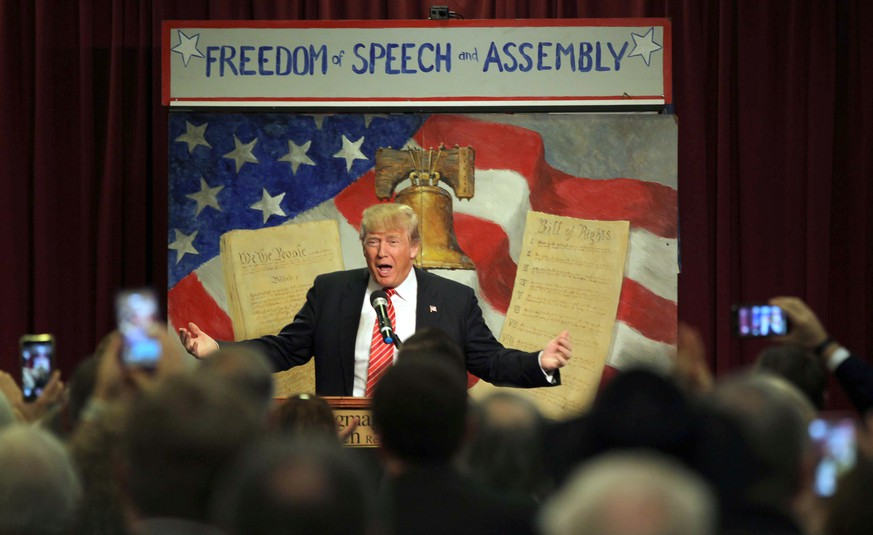 Republican presidential candidate Donald Trump speaks at the South Carolina Tea Party Convention, Saturday, Jan. 16, 2016, at the Springmaid Beach Resort in Myrtle Beach, S.C.(AP Photo/Willis Glassgow)