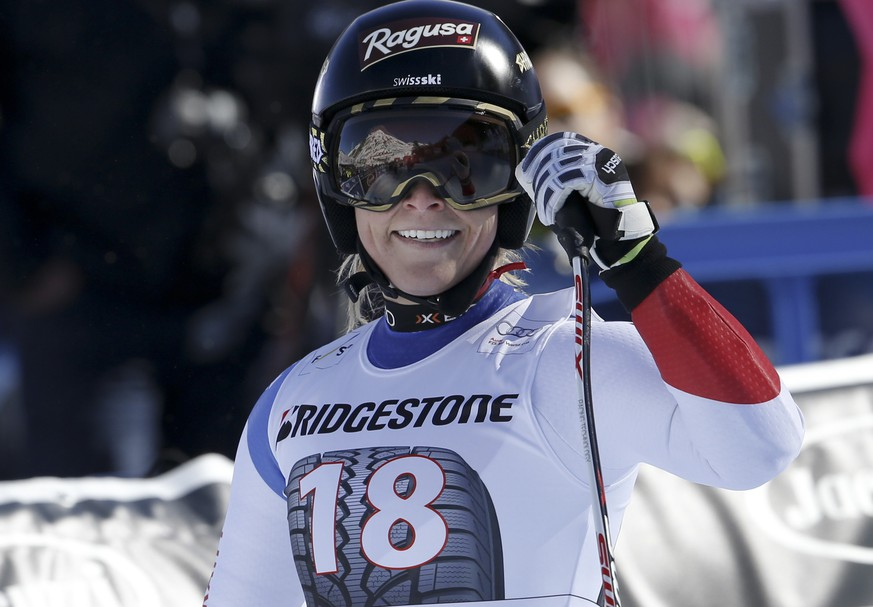 Switzerland's Lara Gut smiles after completing an alpine ski women's World Cup super G race, in La Thuile, Italy, Sunday, Feb. 21, 2016. (AP Photo/Alessandro Trovati)