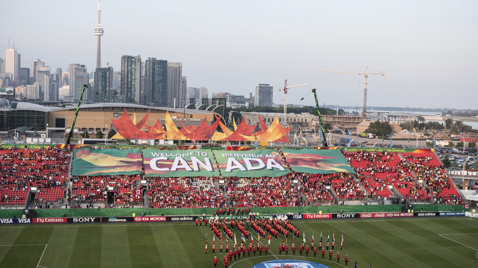 Fans take in the opening ceremony ahead of Canada's game against Ghana in the FIFA U-20 women's World Cup soccer tournament Tuesday, Aug. 5, 2014, in Toronto. (AP Photo/The Canadian Press, Chris Young)