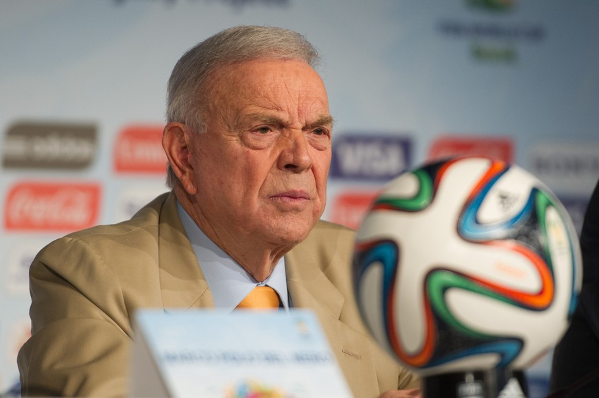 *** ARCHIV *** SAO PAULO, Brazil - 20/01/2015: WORLD CUP LEGACY OF FIFA 2014 - The president of the CBF and the Local Organizing Committee (LOC), Jose Maria Marin during a press conference on the legacy of the FIFA World Cup 2014 after 6 months of the end of the World Cup, held in the auditorium of Arena Corinthians. (Marcelo Machado de Melo/Fotoarena/EQ Images) SWITZERLAND ONLY
