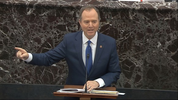 In this image from video, House impeachment manager Rep. Adam Schiff, D-Calif., answers a question during the impeachment trial against President Donald Trump in the Senate at the U.S. Capitol in Washington, Wednesday, Jan. 29, 2020. (Senate Television via AP)