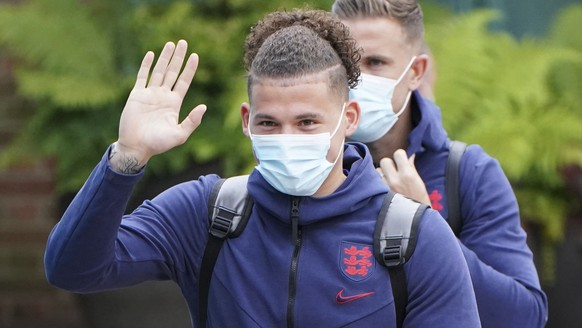 England's Kalvin Phillips with the team leave the Grove Hotel, Hertfordshire, England, and head to Wembley Stadium for the Euro 2020 soccer championship final match between England and Italy Sunday July 11, 2021. (Jonathan Brady/PA via AP)