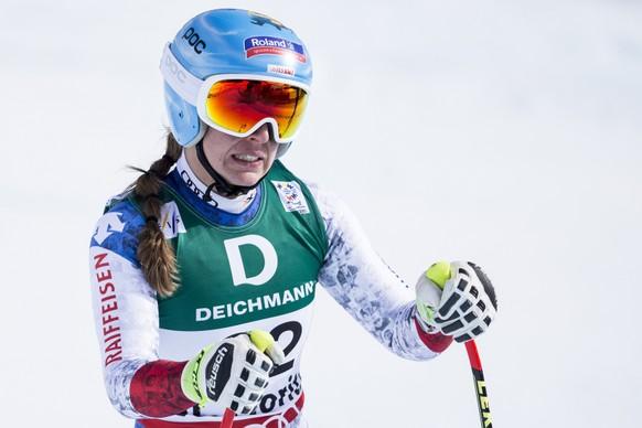Jasmine Flury of Switzerland reacts in the finish area during the women downhill training at the 2017 FIS Alpine Skiing World Championships in St. Moritz, Switzerland, Thursday, February 9, 2017. (KEYSTONE/Alexandra Wey)
