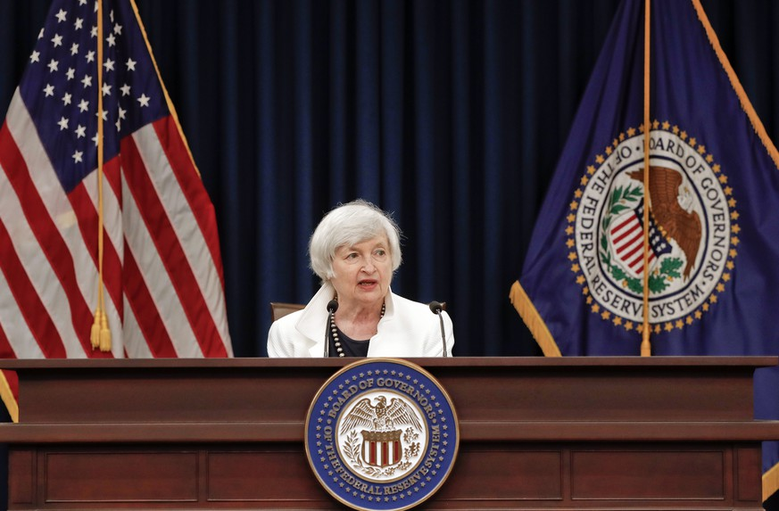 FILE - In this Wednesday, Sept. 20, 2017, file photo, Federal Reserve Chair Janet Yellen speaks at a news conference following the Federal Open Market Committee meeting in Washington. On Wednesday, Oct. 11, 2017, the Federal Reserve releases minutes from its September meeting, when it left its key interest rate unchanged but said it would start shrinking its massive bond portfolio. (AP Photo/Pablo Martinez Monsivais, File)