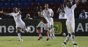 Ghana's Andre Ayew, left, celebrates with teammates after scoring a goal during their African Cup of Nations Group C soccer match in Mongomo, Equatorial Guinea, Tuesday, Jan. 27, 2015. (AP Photo/Themba Hadebe)