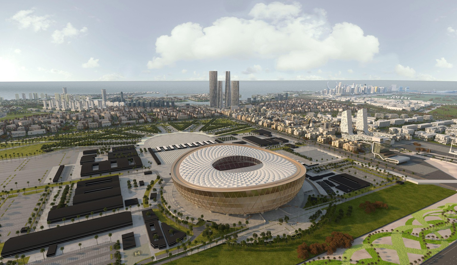epa07234199 A handout computer generated image made available on 15 December 2018 by Qatar World Cup 2022  Supreme Committee for Delivery & Legacy (SC) shows opening and final games of the 2022 FIFA World Cup Qatar 80,000-seater Al-Lusail Stadium after the committee revealed the design.  EPA/- handout  image HANDOUT EDITORIAL USE ONLY/NO SALES