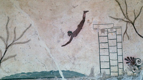Wall painting from a Greek tomb at Paestum of a swimmer, which symbolises the afterlife, 8th century.