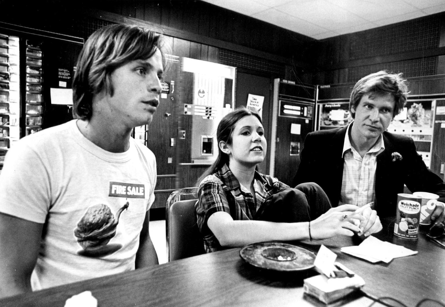 JUN 15 1977, MAY 30 1978, JUN 4 1978; 'Star Wars' has Given three Performers that 'All-Important Break'; Featured in the popular science fantasy movie are, from left, Mark Hamill, Carrie Fisher and Harrison Ford.;  (Photo By Steve Larson/The Denver Post via Getty Images)