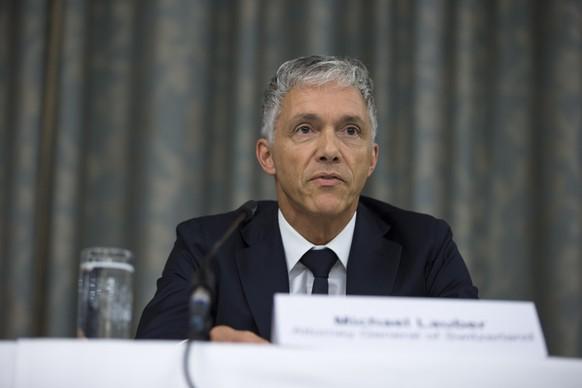 Zuerich, 14.9.2015, Justiz, Fussball, Medienkonferenz, Bundesanwalt Michael Lauber informiert zum Stand der Ermittlungen gegen die FIFA. (Dominik Baur/EQ Images)