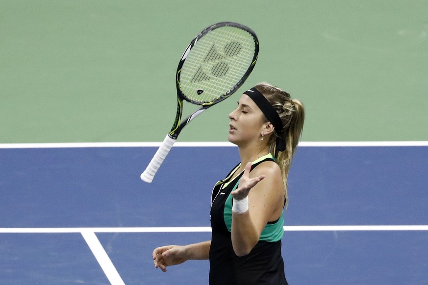 Belinda Bencic of Switzerland throws her racket during her first round match against Carina Witthoeft of Germany, at the WTA Ladies Open tennis tournament in Biel, Switzerland, Tuesday, April 11, 2017. (KEYSTONE/Peter Klaunzer)