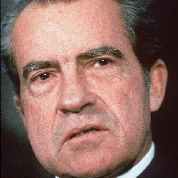 Former President Richard Nixon is shown in this 1973 photo. For two decades, President Nixon's White House tapes have been preserved and protected in a cold storage vault at the National Archives. Now, technicians are slicing them up with a razor blade, because a judge ordered the archives to cut out personal, private and some political conversations from the 3,280 hours of conversations the public still hasn't heard. (KEYSTONE/AP Photo)