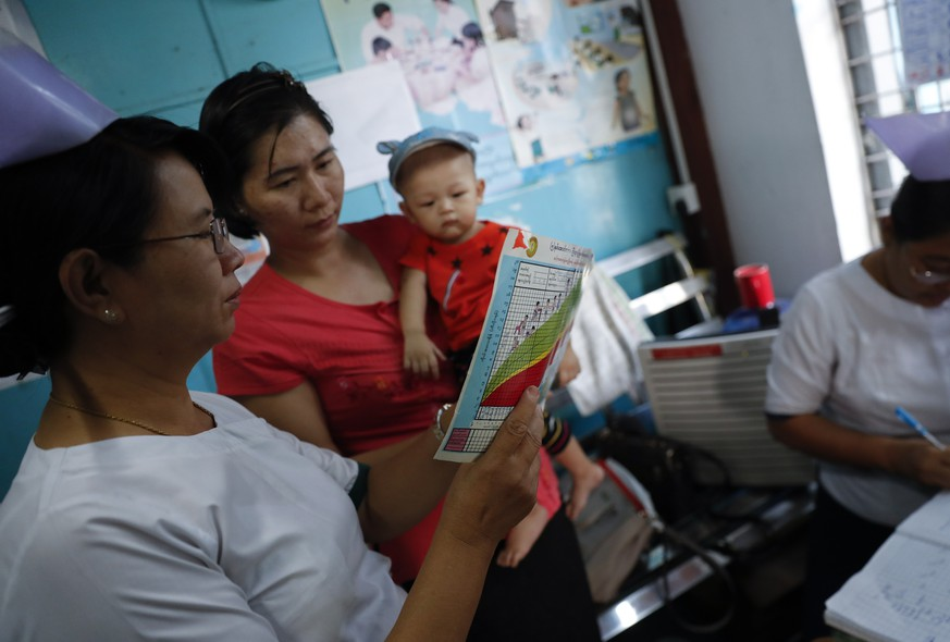 epa07369900 A nurse from township public health department explains the baby growth chart and immunization program to a mother before they receive a regular measles and rubella vaccine injection in Yangon, Myanmar, 14 February 2019. Myanmar has scheduled supplementary measles immunizations campaign from 17 to 28 February 2019 which will cover about 580,000 children aged between 9 months and 15 years old at seven townships in Yangon where the epidemic of measles breaks out. Myanmar public health department on 13 February 2019 announced that they found out 248 laboratory-confirmed measles cases in Yangon between 01 to 04 February 2019 which is relatively high compared to 646 laboratory-confirmed cases of measles in the whole of 2018.  EPA/LYNN BO BO