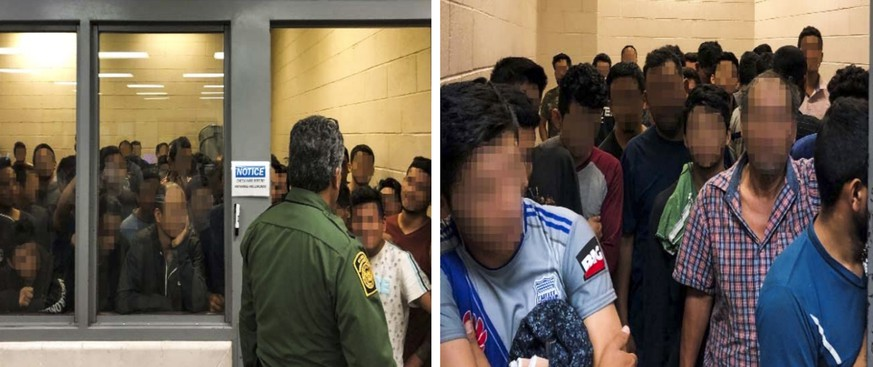 epa07690955 A handout photo made available by the Office of the Inspector General made available on 02 July 2019 shows overcrowded conditions at the US Border Patrol's McAllen holding station in McAllen, Texas, USA, 11 June 2019. The photo was issued as part of a report on the 'Department of Homeland Security needs to address dangerous overcrowding and prolonged detention of children and adults in the Rio Grande Valley.'  EPA/OFFICE OF INSPECTOR GENERAL HANDOUT BEST QUALITY AVAILABLE / FACES BLURRED TO PROTECT PRIVACY HANDOUT EDITORIAL USE ONLY/NO SALES