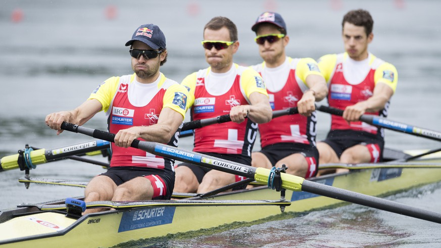Mario Gyr, Simon Niepmann, Simon Schuerch and Lucas Tramer, from left, from Switzerland at the Men's Lightwight Four Final race at the Rowing World Cup on Lake Rotsee in Lucerne, Switzerland, Sunday, May 29, 2016. (KEYSTONE/Urs Flueeler)