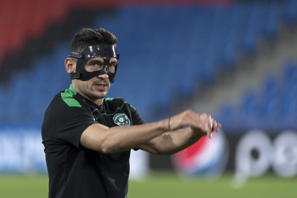 Claudiu Keseru of Bulgaria's PFC Ludogorets Razgrad during a training session in the St. Jakob-Park stadium in Basel, Switzerland, on Monday, September 12, 2016. Bulgaria's PFC Ludogorets Razgrad is scheduled to play against Switzerland's FC Basel 1893 in an UEFA Champions League Group stage Group A matchday 1 soccer match on Tuesday, September 13, 2016. (KEYSTONE/Georgios Kefalas)