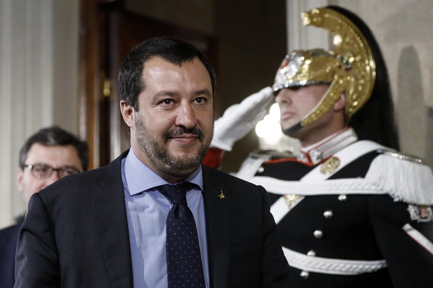 epa06736590 The League (Lega) party's leader Matteo Salvini addresses the media after a meeting with Italian President Mattarella at the Quirinale Palace, in Rome, Italy, 14 May 2018. (M5S) leader Di Maio said that neither he nor prospective right-wing Lega (League) party ally Salvini would put forward names of a Premier yet and asked for a few more days to complete a government programme  EPA/RICCARDO ANTIMIANI