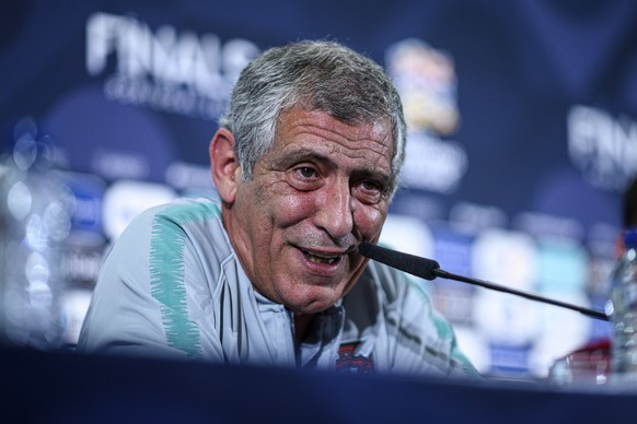 Portugal coach Fernando Santos smiles during a news conference at the Dragao stadium in Porto, Portugal, Tuesday, June 4, 2019. Portugal will face Switzerland Wednesday in a UEFA Nations League semifinal soccer match. (Lukas Schulze/UEFA via AP)