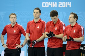 From left, Swiss team members Simon Gempeler, Sandro Trolliet, Claudio Paetz and skip Sven Michel before the men's curling round robin game between Switzerland and Sweden at the XXII Winter Olympics 2014 Sochi in Sochi, Russia, on Monday, February 10, 2014. (KEYSTONE/Laurent Gillieron)