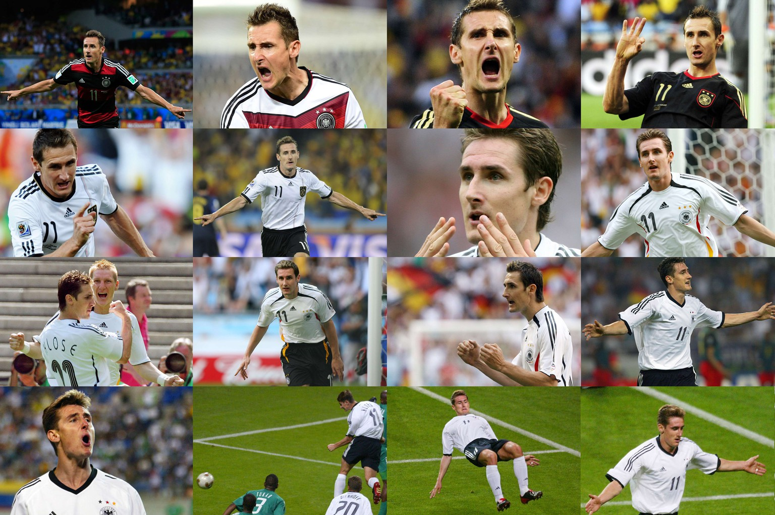 A combination of pictures of goals shows Germany's forward Miroslav Klose becoming the leading all time World Cup goal scorer after scoring in the semi-final of the 2014 FIFA World Cup against Brazil in Belo Horizonte on July 8, 2014. The pictures show from bottom (R-L) in ascending order the 5 goals scored from the 2002 World Cup, 5 goals from the 2006 World Cup, 4 goals from the 2010 World Cup and 2 in the 2014 World Cup.