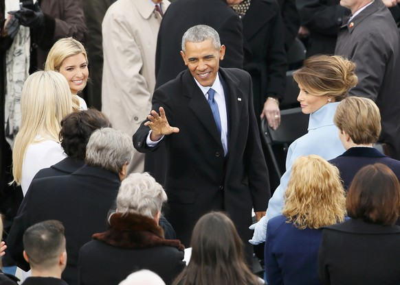 President Obama waves as he walks past theTrump family at the inauguration ceremonies swearing in Donald Trump as the 45th president of the United States on the West front of the U.S. Capitol in Washington, U.S., January 20, 2017. REUTERS/Rick Wilking