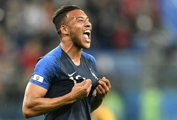 France's Corentin Tolisso celebrates after his team advanced to the final after the semifinal match between France and Belgium at the 2018 soccer World Cup in the St. Petersburg Stadium in St. Petersburg, Russia, Tuesday, July 10, 2018. (AP Photo/Martin Meissner)