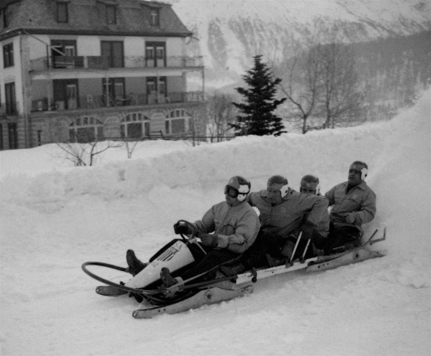 The U.S. four-man bobsled team, gold medal winner of the Olympic championship, is shown February 6, 1948 at St. Moritz, Switzerland.  Left to right:  Francis Tyler, Lake Placid, NY, pilot; Pat Martin, Massena, NY; Edward Rimkus, Schenectady, NY; and William D'Amico, Lake Placid, NY.   (AP Photo)