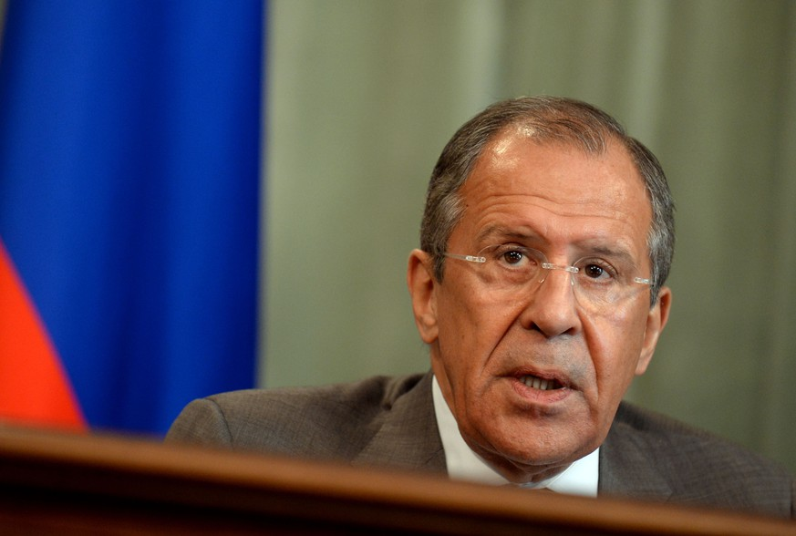 Russian Foreign Minister Sergei Lavrov attends a press conference  in Moscow on May 26, 2014, following a meeting with his South Sudan's counterpart Barnaba Marial Benjamin. Lavrov said today that Moscow was willing to talk with Ukraine's newly elected president Petro Poroshenko.AFP PHOTO / VASILY MAXIMOV