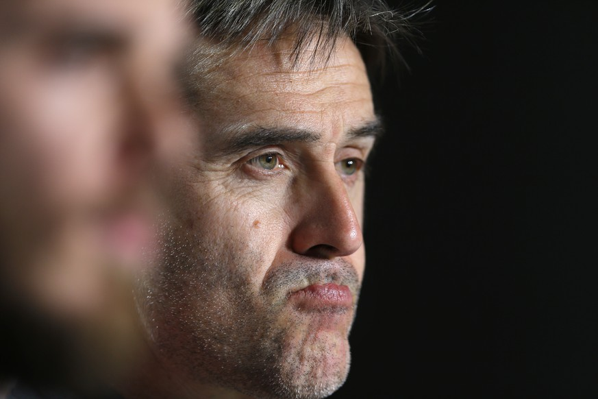 Spain's coach Julen Lopetegui listens to a question during a news conference at the Wanda Metropolitano stadium in Madrid, Monday, March 26, 2018. Spain will play an international friendly soccer match with Argentina on Tuesday.  (AP Photo/Francisco Seco)