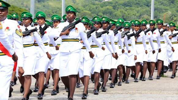 epa07986946 Members of the Trinidad and Tobago regiment parade during the National Memorial Day at the National Monument Park in Port of Spain, Trinidad and Tobago, 10 November 2019. Memorial Day is observed annually in memory of those who served and fell in the World Wars of 1914-1918 and 1939-1945. EPA/Andrea De Silva