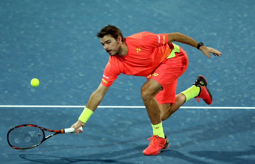 DUBAI, UNITED ARAB EMIRATES - FEBRUARY 25:  Stan Wawrinka of Switzerland in action during his quarter final match against Philipp Kohlschreiber of Germany on day six of the ATP Dubai Duty Free Tennis Championship at the Dubai Duty Free Stadium on February 25, 2016 in Dubai, United Arab Emirates.  (Photo by Warren Little/Getty Images)