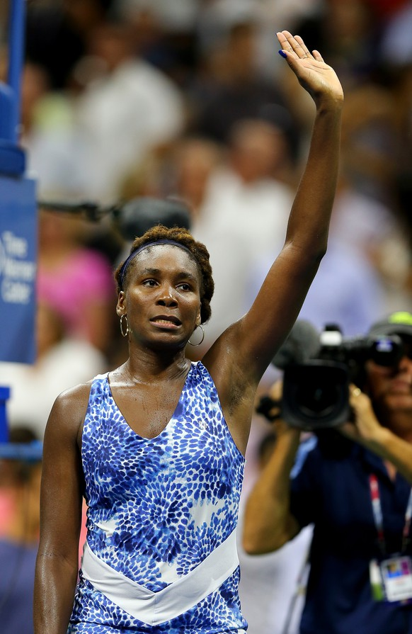 NEW YORK, NY - SEPTEMBER 02:  Venus Williams of the USA celebrates her match win over Irina Falconi of the USA on Day Three of the 2015 US Open at the USTA Billie Jean King National Tennis Center on September 2, 2015 in the Flushing neighborhood of the Queens borough of New York City.  (Photo by Elsa/Getty Images)