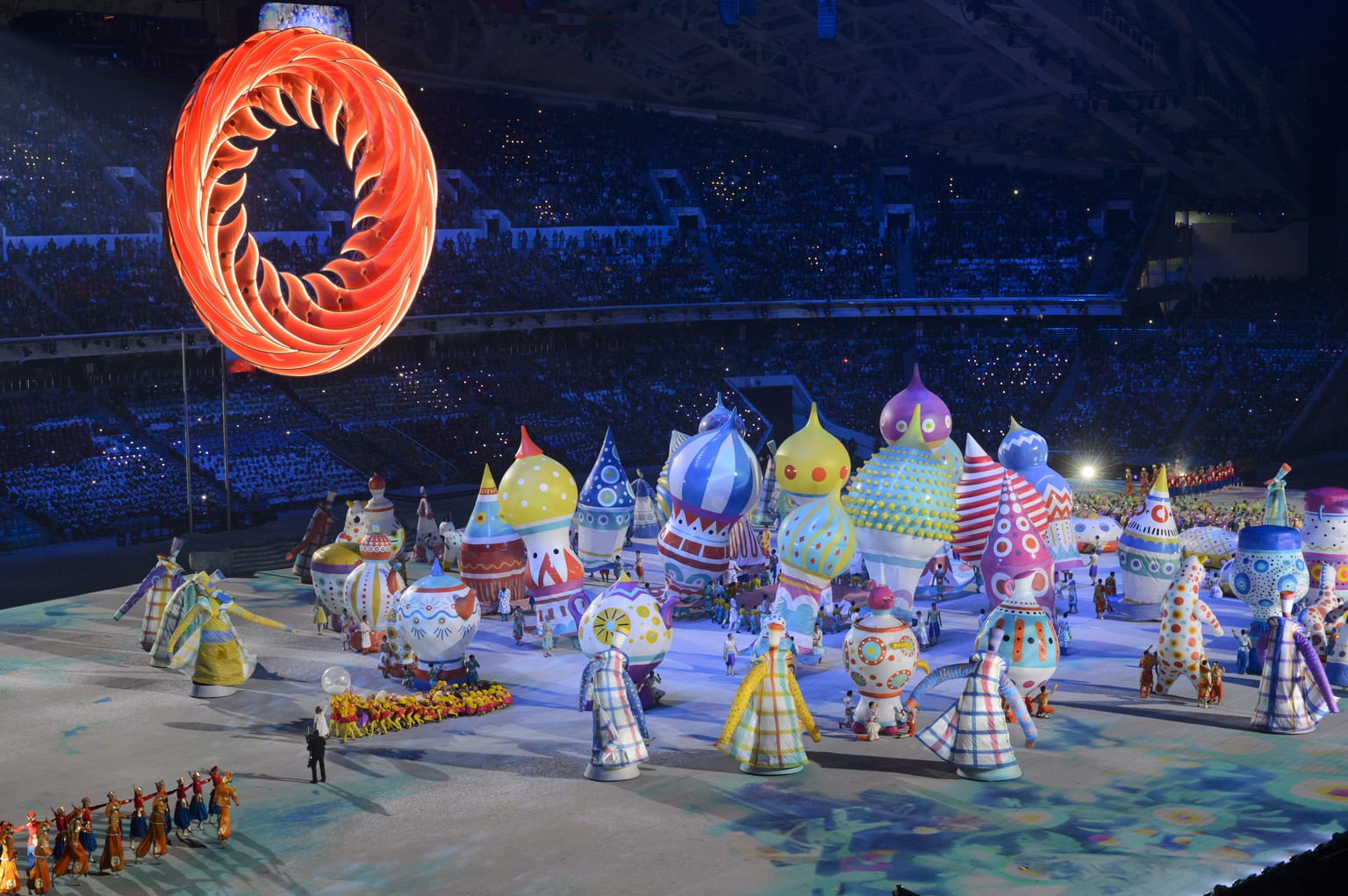 Artists perform during the opening ceremony of the XXII Winter Olympics 2014 Sochi at the Fisht Olympic Stadium in Sochi, Russia, on Friday, February 7, 2014. (KEYSTONE/Laurent Gillieron)