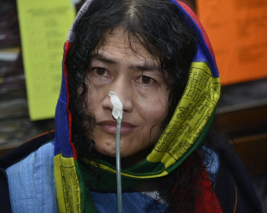 epa05467139 Irom Chanu Sharmila, the so-called 'Iron Lady', speaks during a press conference after appearing in the court of Imphal, Manipur, India, 09 August 2016. The 44-year-old rights activist is scheduled to break her fast later in the day, after she had been on a hunger strike since the year 2000. Sharmila, who lives in a prison-turned-hospital, went on hunger strike after the death of 10 civilians in a village near Imphal, who were allegedly killed by an Assam Rifles battalion. The activist, who had been forcibly fed through a nasal tube to keep her alive, demanded the revocation of Armed Forces (Special Powers) Act (AFSPA) which allows security men to kill a person on suspicion without the fear of punishment.  EPA/STR