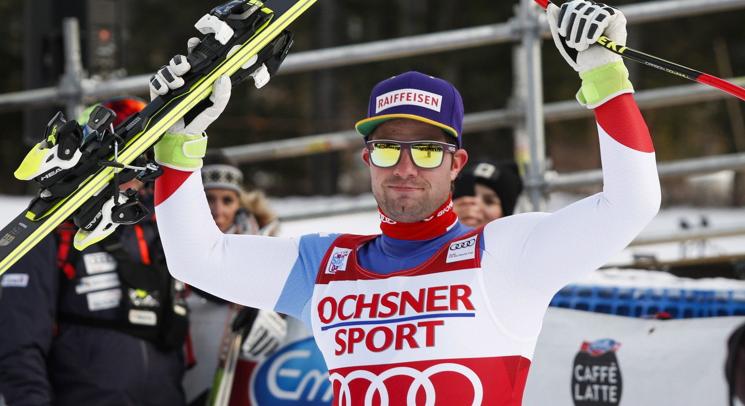 Switzerland's Beat Feuz celebrates his first place finish following the men's World Cup downhill ski race at Lake Louise, Alberta, Saturday, Nov. 25, 2017. (Jeff McIntosh/The Canadian Press via AP)