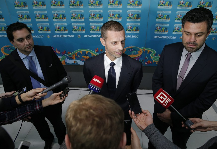 epa05730412 UEFA President Aleksander Ceferin speaks to media after the presentation of the UEFA EURO 2020 logo in St. Petersburg, Russia, 19 January 2017. Thirteen countries are due to host games of the UEFA EURO 2020. Three group matches and a quarter final match of the tournament will be held in St. Petersburg.  EPA/ANATOLY MALTSEV