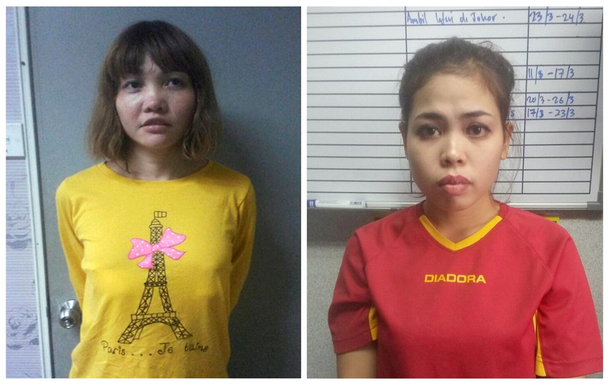 Vietnamese Doan Thi Huong (L) and Indonesian Siti Aishah are seen in this combination picture from undated handouts released by the Royal Malaysia Police to Reuters on February 19, 2017. Malaysia on March 1, 2017 charged both women with the murder of Kim Jong Nam, the estranged half brother of North Korea's leader.  Royal Malaysia Police/Handout via Reuters/File Photo ATTENTION EDITORS - THIS IMAGE WAS PROVIDED BY A THIRD PARTY. IT WAS PROCESSED BY REUTERS TO ENHANCE QUALITY. UNPROCESSED VERSIONS HAVE BEEN PROVIDED SEPARATELY. EDITORIAL USE ONLY. NO RESALES. NO ARCHIVE.