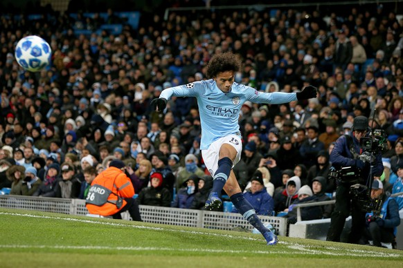 epa07227156 Manchester City's Leroy Sane in action during the UEFA Champions League group H soccer match between Manchester City and 1899 Hoffenheim in Manchester, Britain, 12 December 2018.  EPA/NIGEL RODDIS