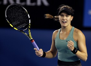 Eugenie Bouchard of Canada celebrates after her fourth round win over Casey Dellacqua of Australia at the Australian Open tennis championship in Melbourne, Australia, Sunday, Jan. 19, 2014.(AP Photo/Rick Rycroft)